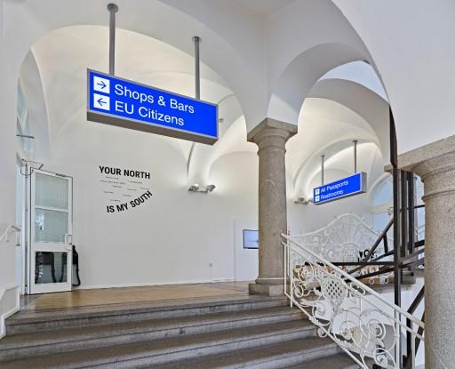 IN MEINEM NORDEN <-> IN DEINEM SÜDEN Your North is my South, Museum für Neue Kunst, Ausstellungsansicht 2018, Foto: Bernhard Strauss Perspektive